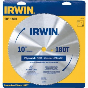 Irwin 10 Inch 180 Tooth Plywood Blade