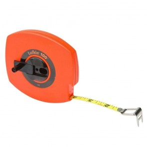 "Lufkin 3/8"" x 100' Hi-Viz® Orange Universal Lightweight Yellow Clad Tape Measure"