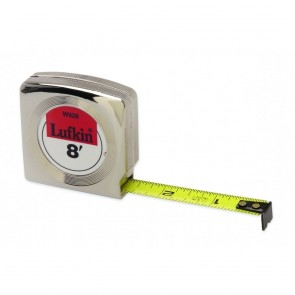 "Lufkin 1/2"" x 12' Mezurall® Chrome Case Yellow Clad Power Return Tape Measure"