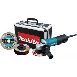 Makita 4-1/2 in. Paddle Switch AC/DC Angle Grinder with Case and Grinding Wheels