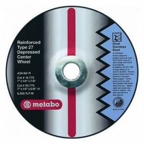 "Metabo 6"" X 1/4"" X 7/8"" Type 27 Depressed Center Grinding Wheel"