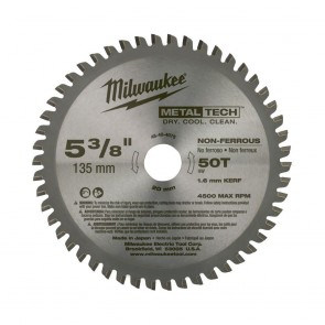 Milwaukee 5-3/8 in. MetalTech Non-Ferrous Circular Saw Blade (50 Tooth)