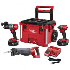 Milwaukee M18 FUEL 3-Tool Combo Kit W/ Packout Hammerdrill, Impact & Sawzall