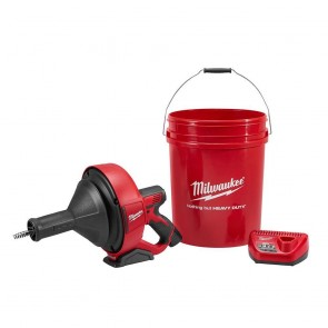 Milwaukee M12 Cordless Lithium-Ion Drain Snake Kit with Bucket