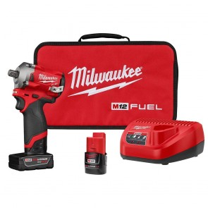 "Milwaukee M12 FUEL 1/2"" Stubby Impact Wrench w/Pin Detent Kit"