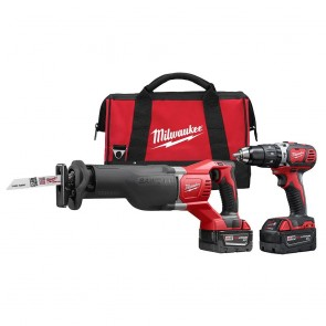 Milwaukee M18 Cordless Lithium-Ion 1/2 in. Hammer Drill and Sawzall Recip Saw Combo Kit