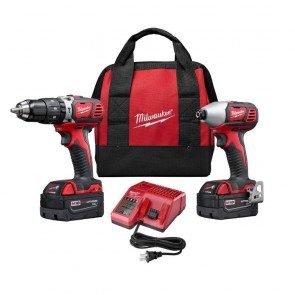 Milwaukee M18 Cordless Lithium-Ion 1/2 in. Hammer Drill and Impact Driver High Performance Combo Kit