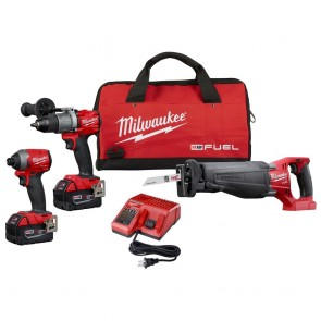 Milwaukee M18 FUEL 18-Volt Lithium-Ion Brushless Cordless Combo Kit (3-Tool) w/(2) 5Ah Batteries, Charger & Tool Bag