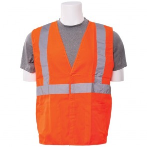 ERB Class 2 Solid Woven Safety Vest with Pockets, X-Large (Orange)