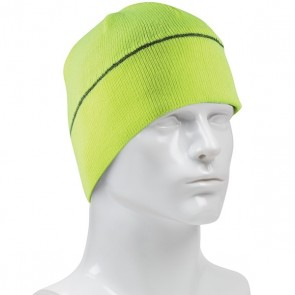 PIP Hi-Vis Winter Beannie Cap with Reflective Stripe