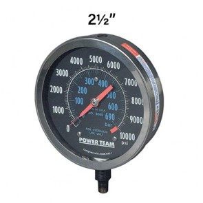 "Power Team Silicone Filled Analog Gauge, 2-1/2"" Face Diameter"