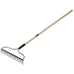 Eagle Bow Style Garden Rake, 14 in Forged Steel Blade, 48 in White Ash Handle