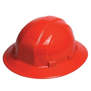 ERB Omega II Full Brim Hard Hat with Ratchet Adjustment, Red