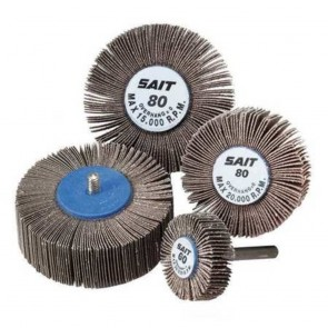 "United Abrasives 1 1/2"" X 1"" X 1/4"" 80 Grit 2A Aluminum Oxide Coated Flap Wheel"