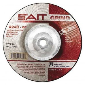 "United Abrasives 24 Grit, 7"" Diam x 1/4"" Thick x 5/8-11 Threaded Arbor, Type 28 Depressed Center Wheel"