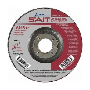 "United Abrasives/ SAIT 4"" Diam x 1/4"" Thick x 5/8"" Arbor, Type 27 Depressed Center Wheel A24R"