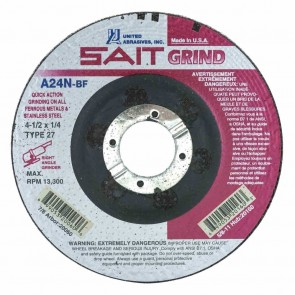 "United Abrasives/ SAIT 4-1/2"" Diam x 1/4"" Thick x 7/8"" Arbor, Type 27 Depressed Center Wheel A24N"