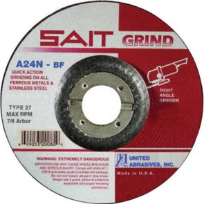"United Abrasives/SAIT 5"" Diam x 1/4"" Thick x 7/8"" Arbor, Type 27 Depressed Center Wheel A24N"