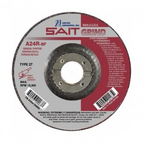 "United Abrasives/SAIT 24 Grit, 5"" Diam x 1/4"" Thick x 7/8"" Arbor, Type 27 Depressed Center Wheel"