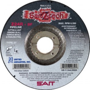"United Abrasives/ SAIT 4 1/2"" X 1/8"" X 7/8"" SaitZ-tech™ Zirconium Type 27 Cut Off Wheel Z24R"