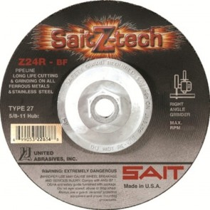 "United Abrasives/ SAIT 9"" X 1/8"" X 7/8"" SaitZ-tech™ Zirconium Type 27 Cut Off Wheel Z24R"