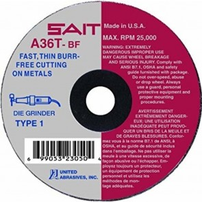 "United Abrasives/SAIT 2"" X 1/16"" X 1/4"" A36T 36 Grit Aluminum Oxide Type 1 Cut Off Wheel"