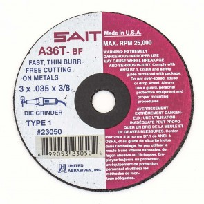 "United Abrasives/ SAIT 3"" X 1/16"" X 3/8"" A36T 36 Grit Aluminum Oxide Type 1 Cut Off Wheel"