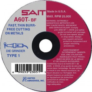 "United Abrasives/ SAIT 3"" X .035"" X 3/8"" A60T 60 Grit Aluminum Oxide Type 1 Cut Off Wheel"