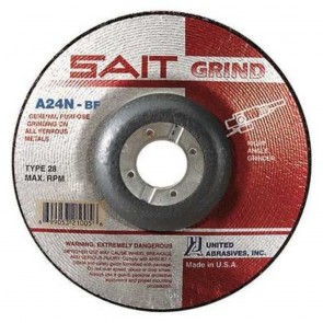 "United Abrasives 4 1/2"" X 1/4"" X 7/8"" A24N 24 Grit Aluminum Oxide Type 28 Grinding Wheel"