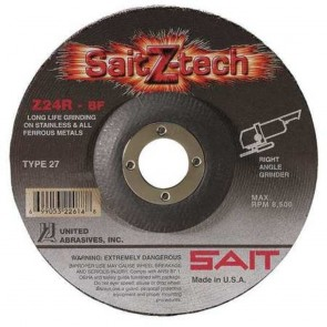 "United Abrasives 9"" X 1/4"" X 7/8"" SaitZ-tech™ Zirconium Type 27 Grinding Wheel"