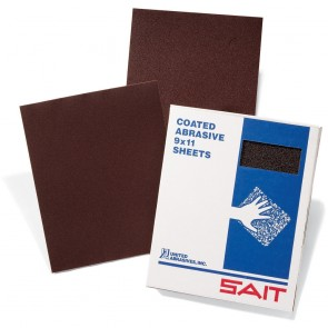 "United Abrasives/ SAIT 11"" X 9"" 320X Grit DA-F Aluminum Oxide Open Coat Resin Bond Waterproof Sanding Sheet"