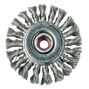 United Abrasives 4-Inch by .020-Inch by 5/8-11 Knot Carbon Steel Wheel