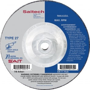 "United Abrasives 4-1/2"" Diam x 1/4"" Thick x 5/8-11 Threaded Arbor, Type 27 Depressed Center Wheel"