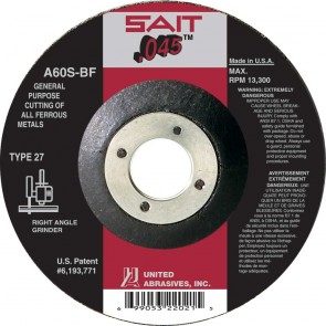 "United Abrasives/SAIT 60 Grit, 4-1/2"" Diam x 0.045"" Thick x 7/8"" Arbor, Type 27 Depressed Center Wheel"