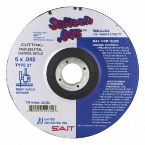 "United Abrasives/SAIT 6"" Diam x 0.045"" Thick x 7/8"" Arbor, Type 27 Depressed Center Wheel"