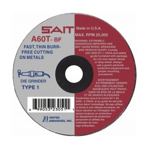 "United Abrasives 4"" X .035"" X 3/8"" A60T 60 Grit Aluminum Oxide Type 1 Cut Off Wheel"