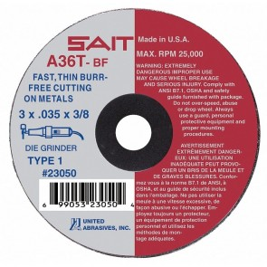 "United Abrasives 4"" X 1/16"" X 1/4"" A36T 36 Grit Aluminum Oxide Type 1 Cut Off Wheel"