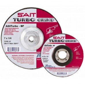 United Abrasives 4.5 In. x 1/4 In. x 7/8 In. Turbo Depressed Center Grinding Wheel A24Turbo
