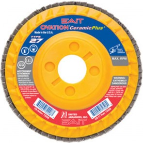 "United Abrasives/SAIT 4-1/2"" x 5/8""-11 Type 27 Coarse 36-Grit Ceramic Flap Disc"