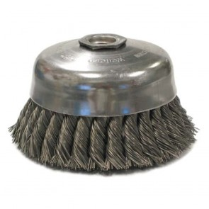 "Weiler 4"" Single Row Knot Wire Cup Brush, .023"" Steel Fill, 5/8""-11 UNC Nut"