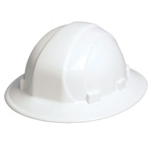 ERB Omega II Full Brim Hard Hat with Ratchet Adjustment, White
