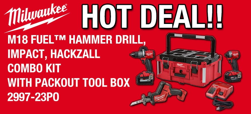 Milwaukee M18 Fuel Hammer Drill, Impact, Hackzall Combo Kit with Packout Tool Box